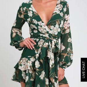 LULUS FOREST GREEN FLORAL PRINT RUFFLED DRESS
